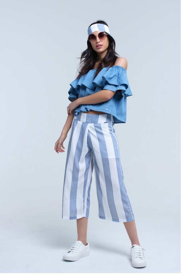 Pantaloni gamba larga a righe blu chiaro