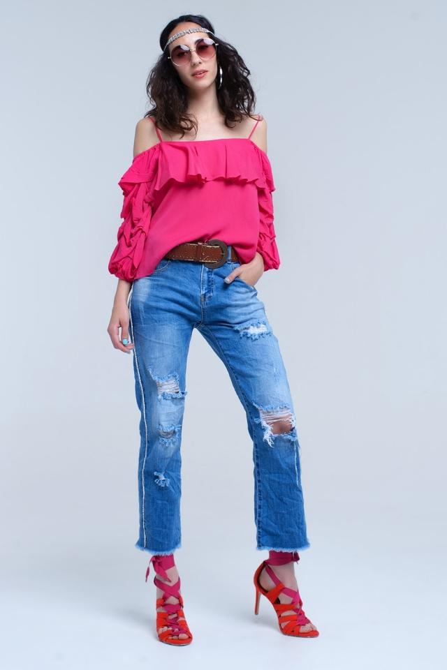 Jeans mom con strappi e dettaglio laterale in cristallo