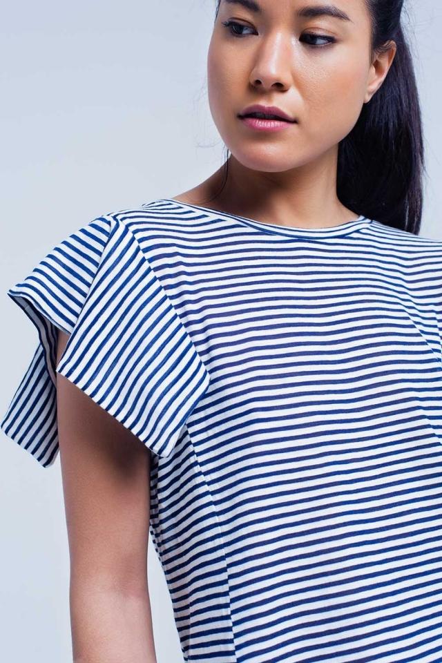 Maglietta a maniche corte a righe blu scuro