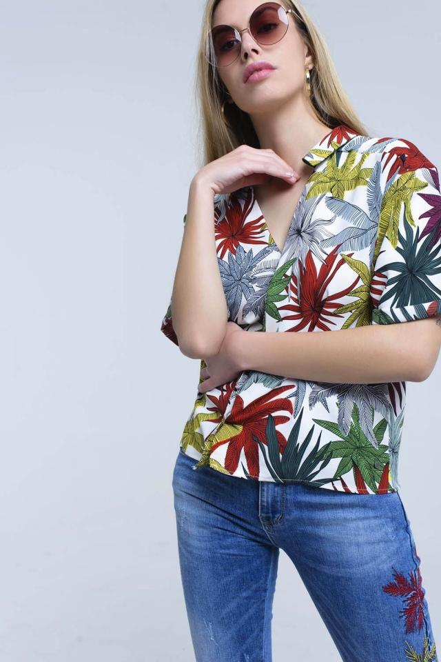 Camicia bianca con stampa foglie