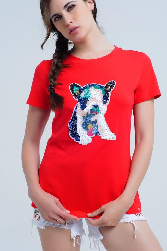 T-shirt rossa con cane paillettes