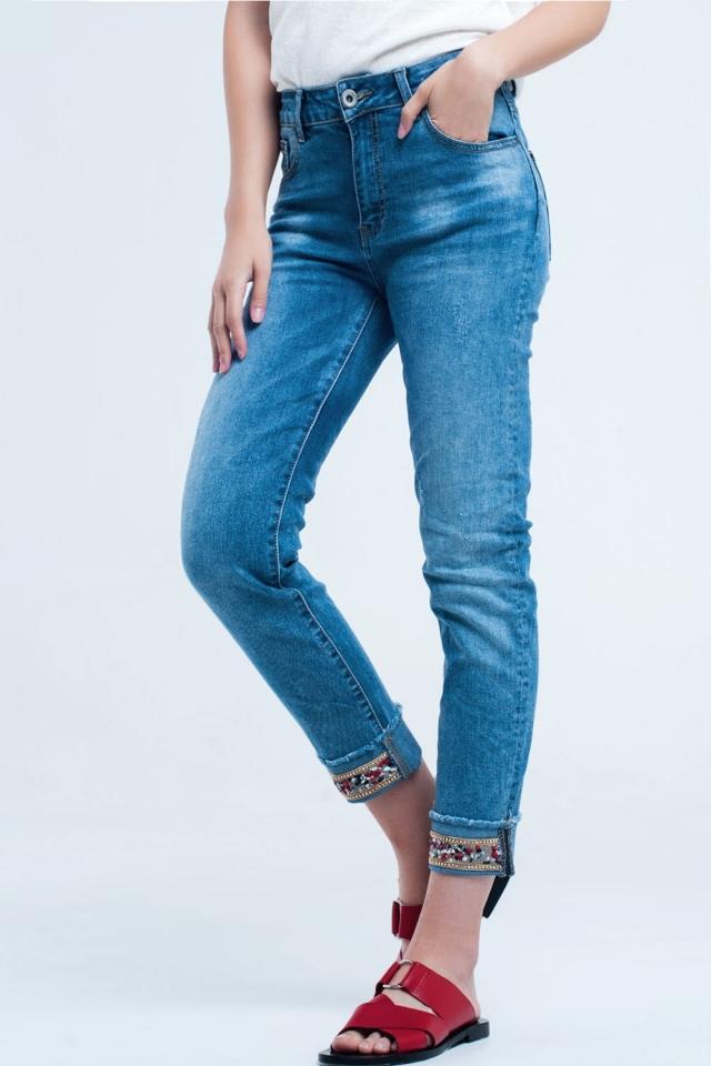 Jeans alla caviglia dritti con dettagli in cristallo