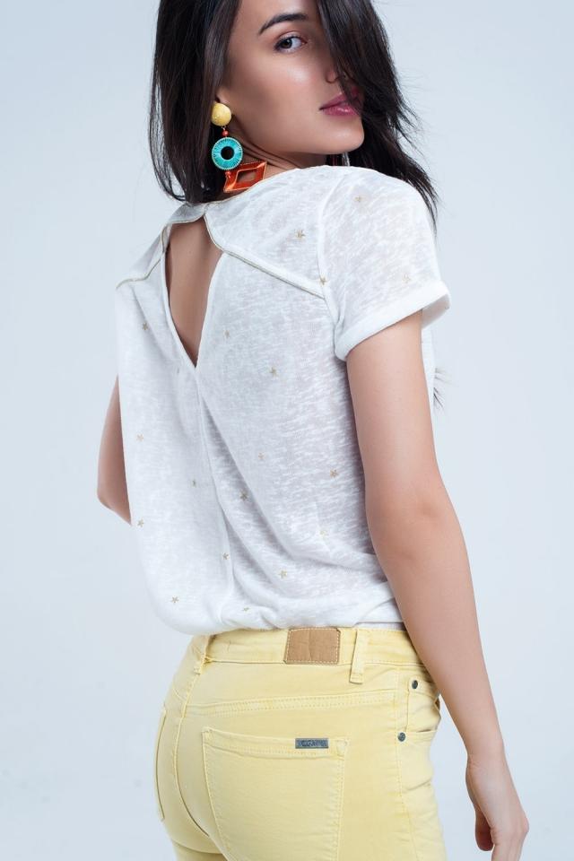 T-shirt bianca con strisce dorate stampate
