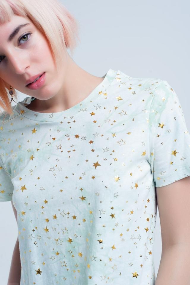 T-shirt verde effetto sfumato con stelle dorate