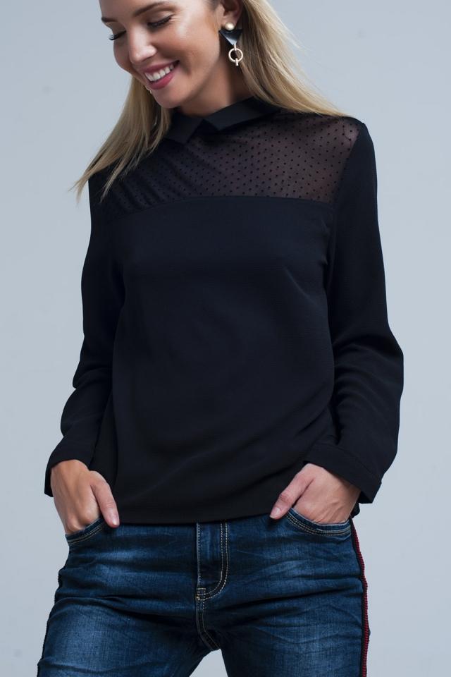 Camicia nera con dettagli a pois trasparenti