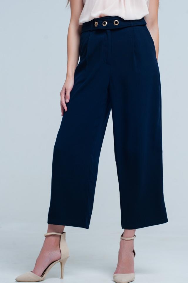 Pantaloni alla caviglia blu navy con dettaglio cintura