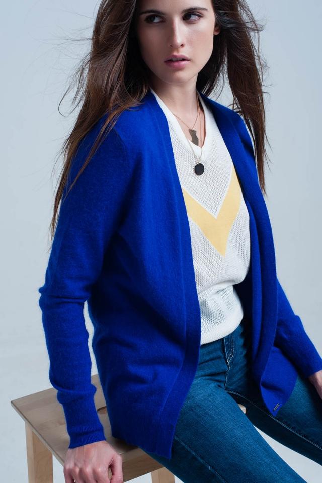giacca a maglia manica lunga morbido blu