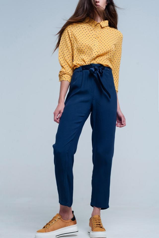 Pantalone blu marino con Cintura in raso