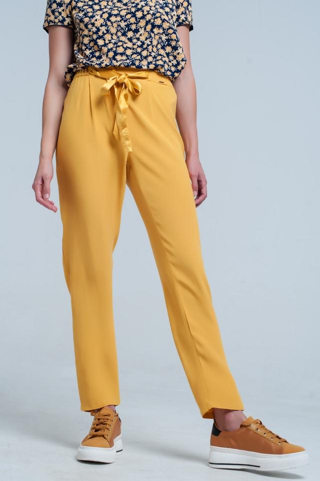 Pantalone senape con Cintura in raso