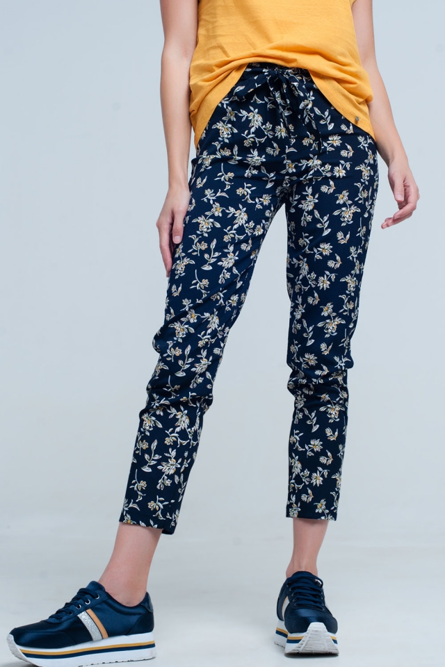 Pantaloni stampa floreale blu con cintura