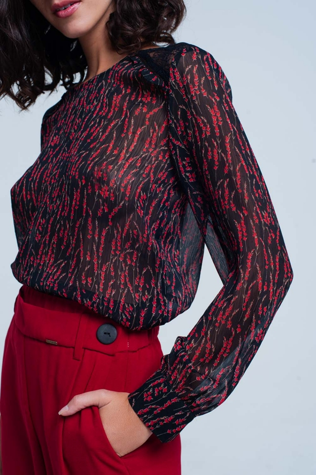 Top in chiffon con stampa floreal rosso