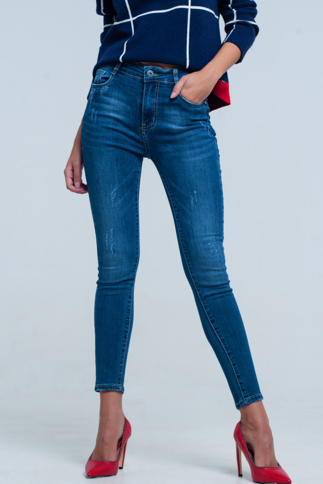 Jeans skinny a vita alta blu profondo slavato