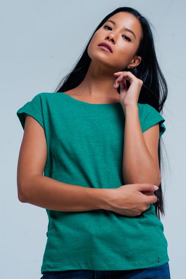 T-shirt verde con scollo rotondo