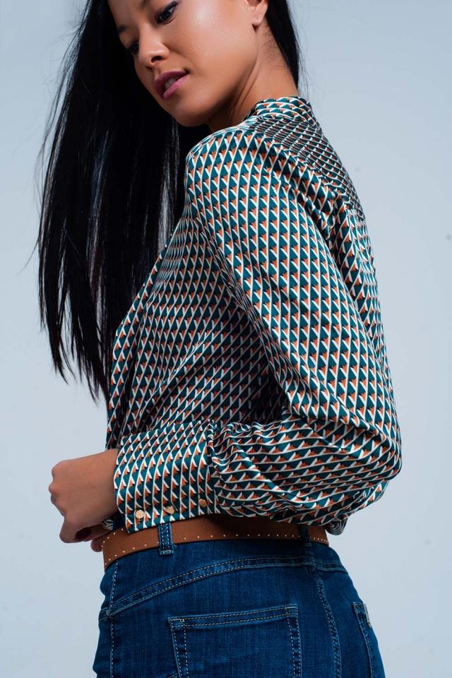 Blusa con fiocco sul davanti e stampa geometrica verde