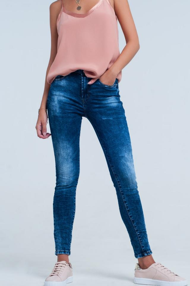 Jeans skinny a vita alta lavaggio blu