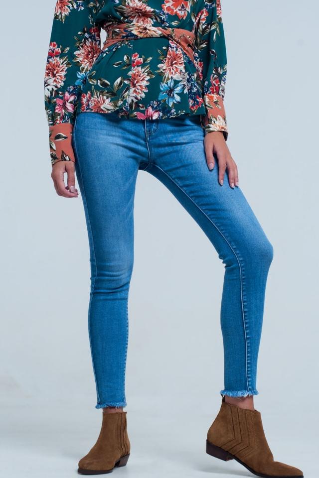 Jeans skinny a vita alta lavaggio stone wash Pretty medio blu