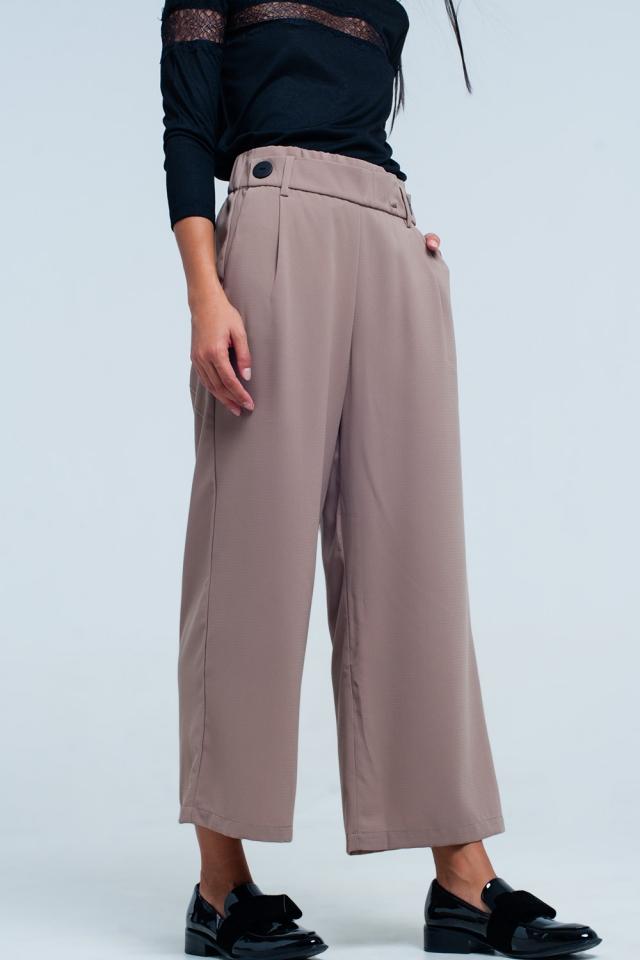 Gonna pantalone beige con fondo ampio e Dettagli cintura