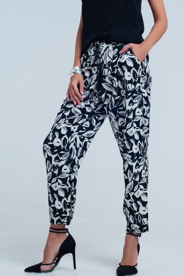 Pantalone gamba larga floreale nero