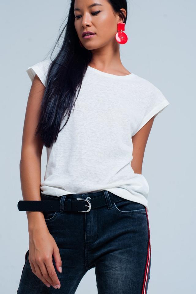White t-shirt con scollo rotondo