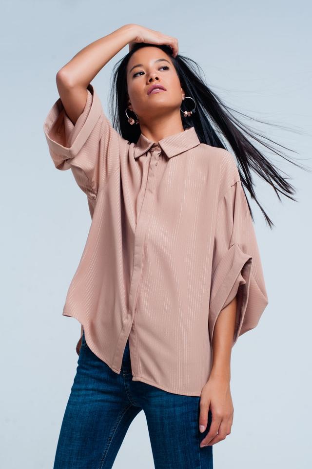 Camicia rosa oversize con dettagli lurex