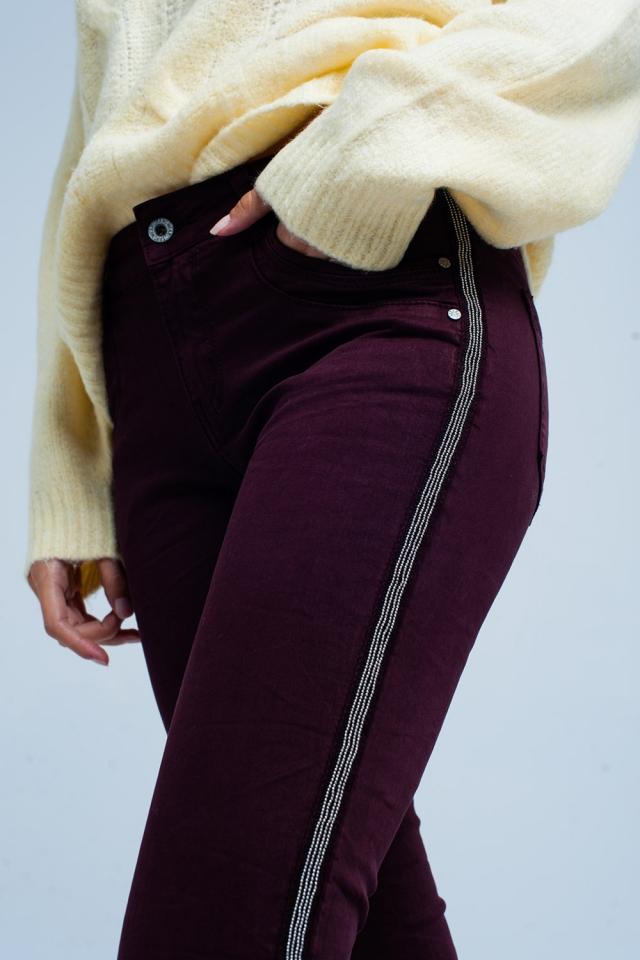 Jeans skinny Bourdeaux con riga laterale metallizzata