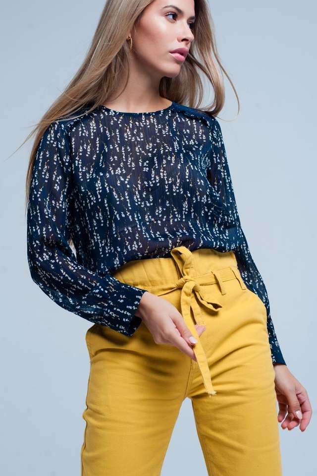 Top in chiffon con stampa floreal Blu