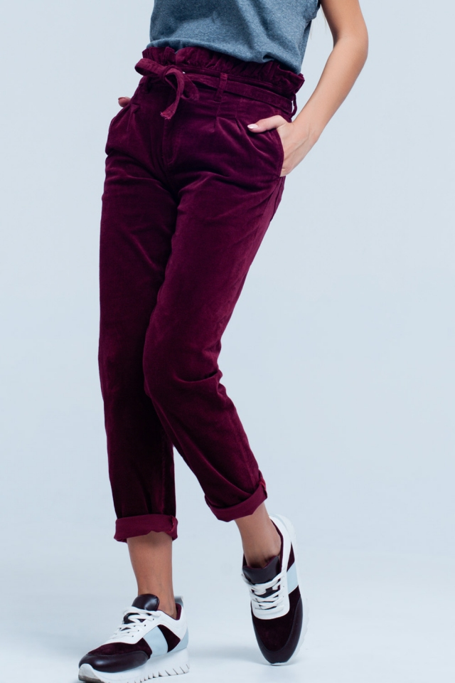 Pantalone Bordeaux paperbag a vita alta con cintura