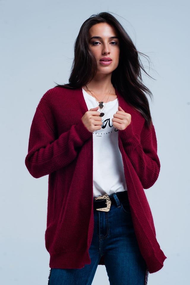Giacca a maglia Bordeaux con angora manica lunga