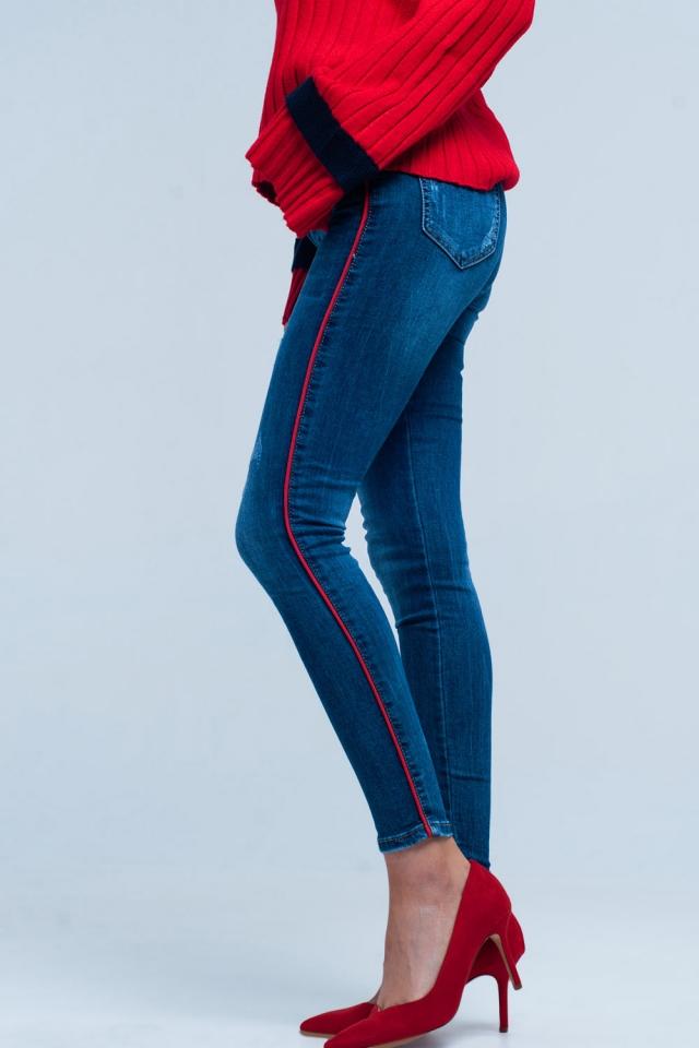Jeans skinny Blu con riga laterale rosso