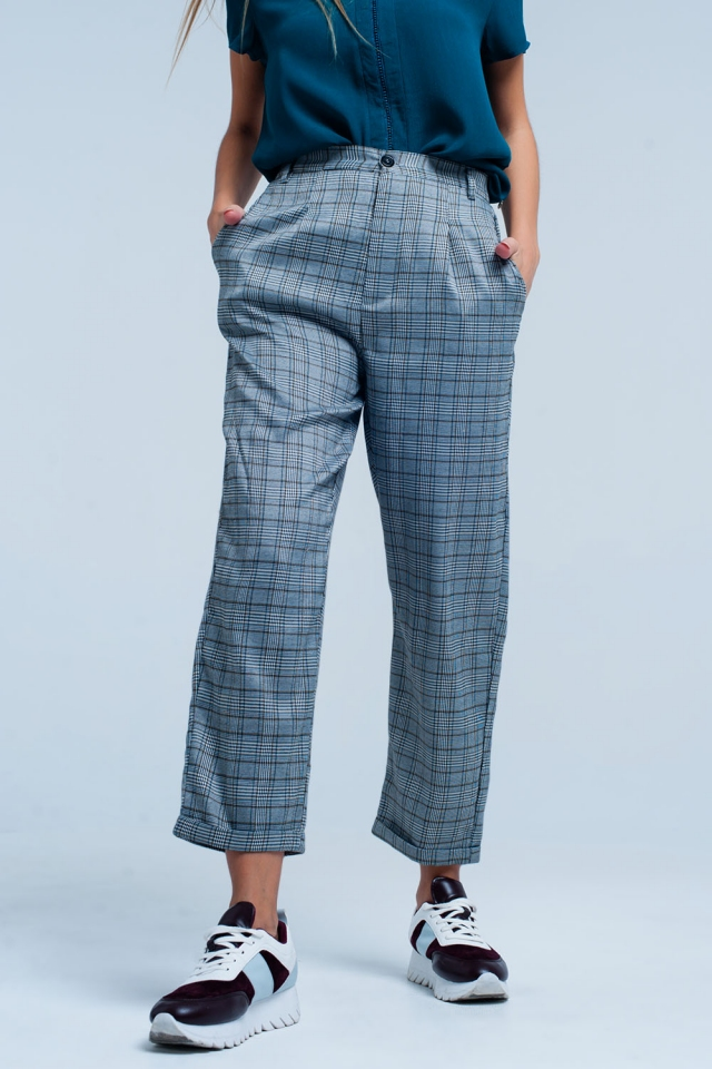 Pantaloni a scacchi sovradimensionato Grigio