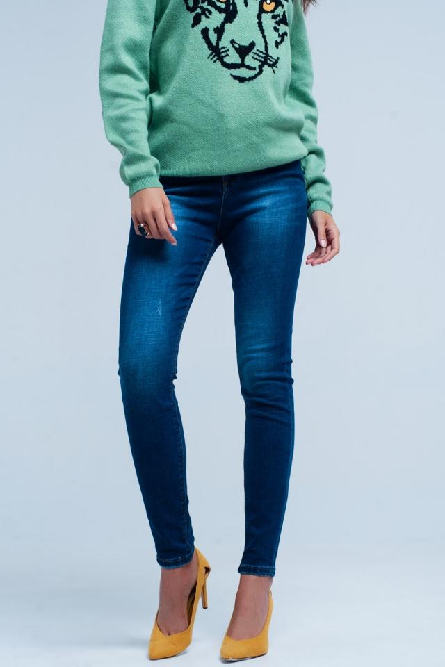 Jeans skinny Blu scuro strappati