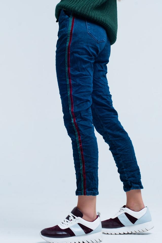 Jeans baggy Blu con striscia laterale