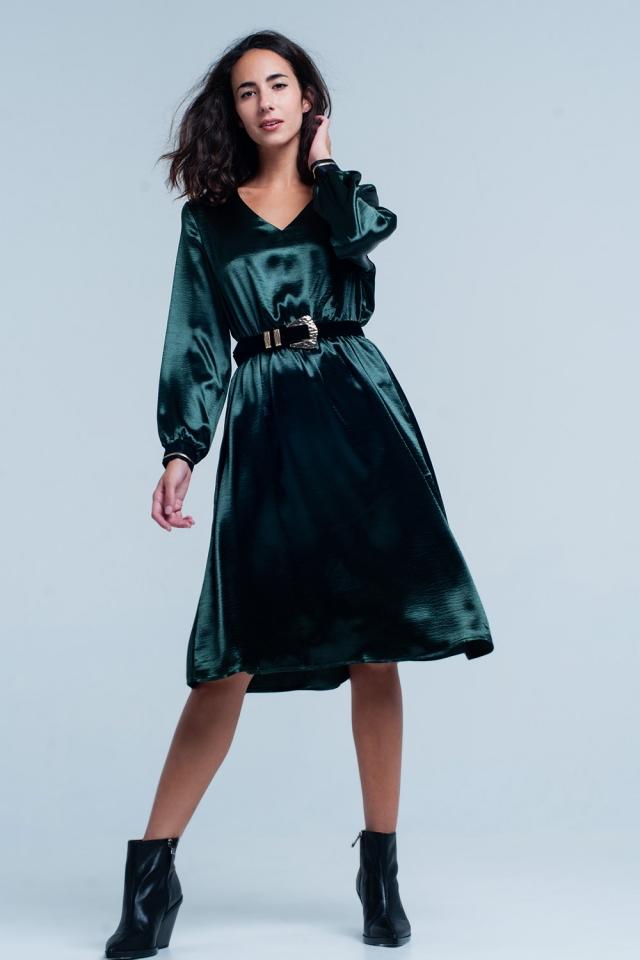 Vestito midi effetto satinato Verde