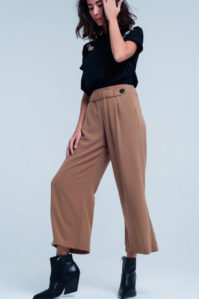 Gonna pantalone Camello con fondo ampio e Dettagli cintura