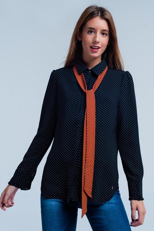Camicia Nero con pois e cravatta arancio