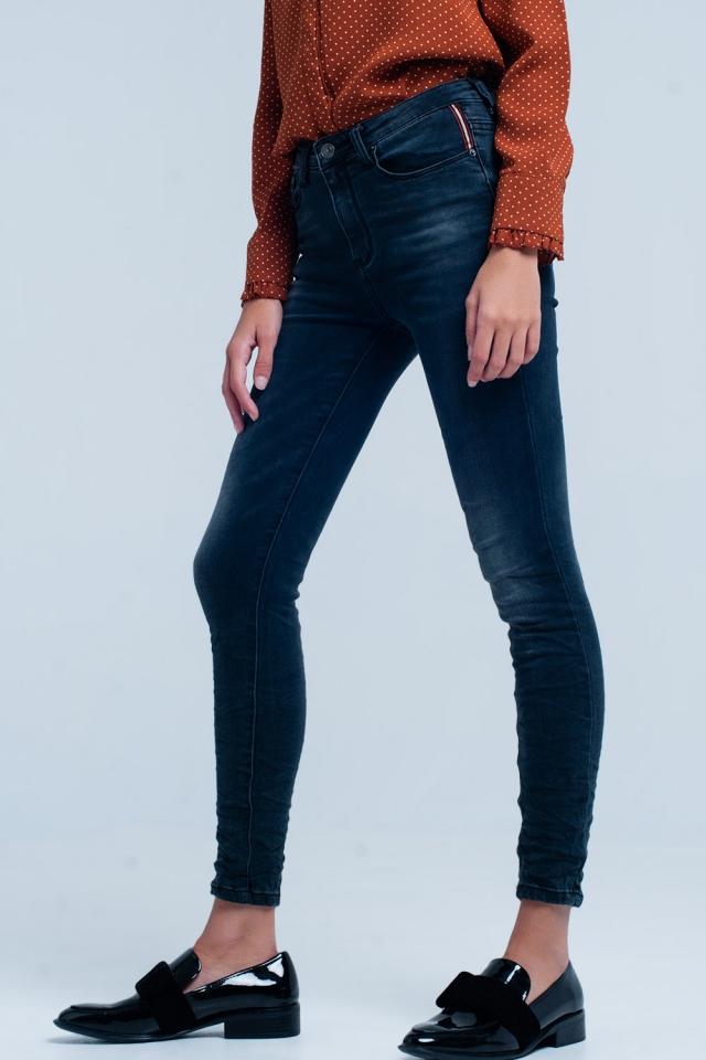 Jeans skinny Nero rugoso