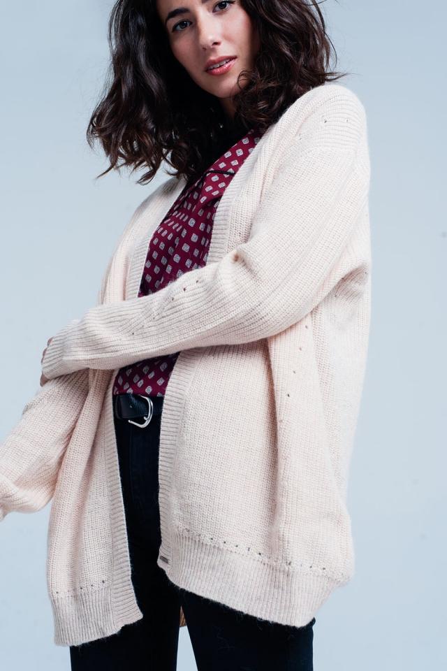 Giacca a maglia Rosa con angora manica lunga