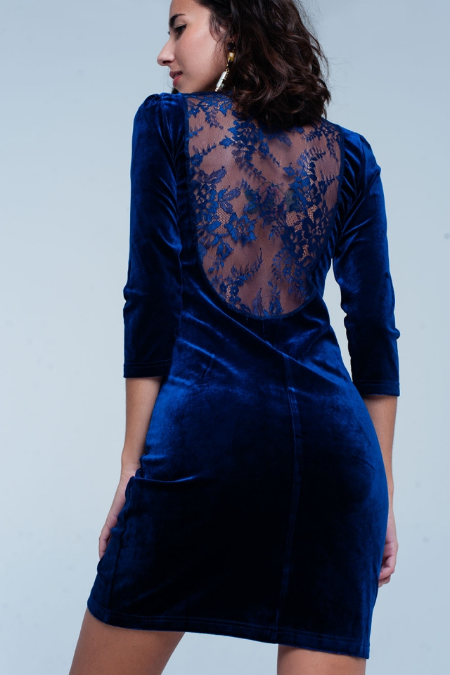 Navy Velvet Mini Dress Open Back