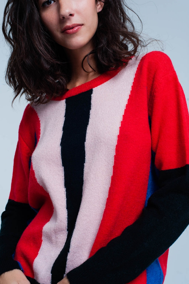 Red and Black Color Block Sweater