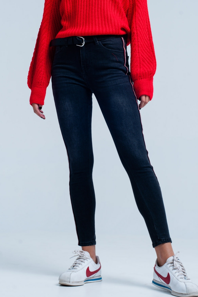 Black Skinny Jeans with Red Side Stripe