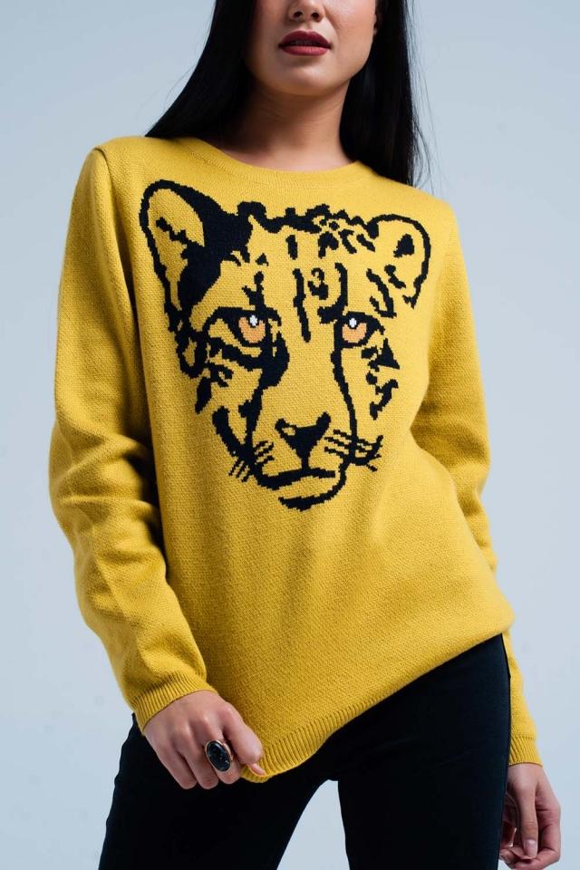 Maglione in maglia senape con leopard