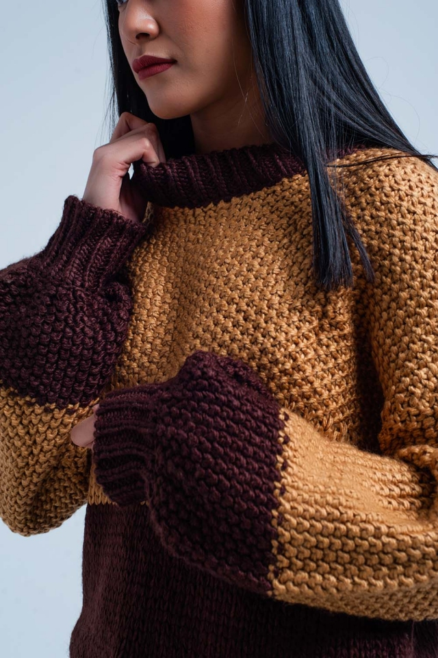 Maglione lavorato a maglia pesante marrone