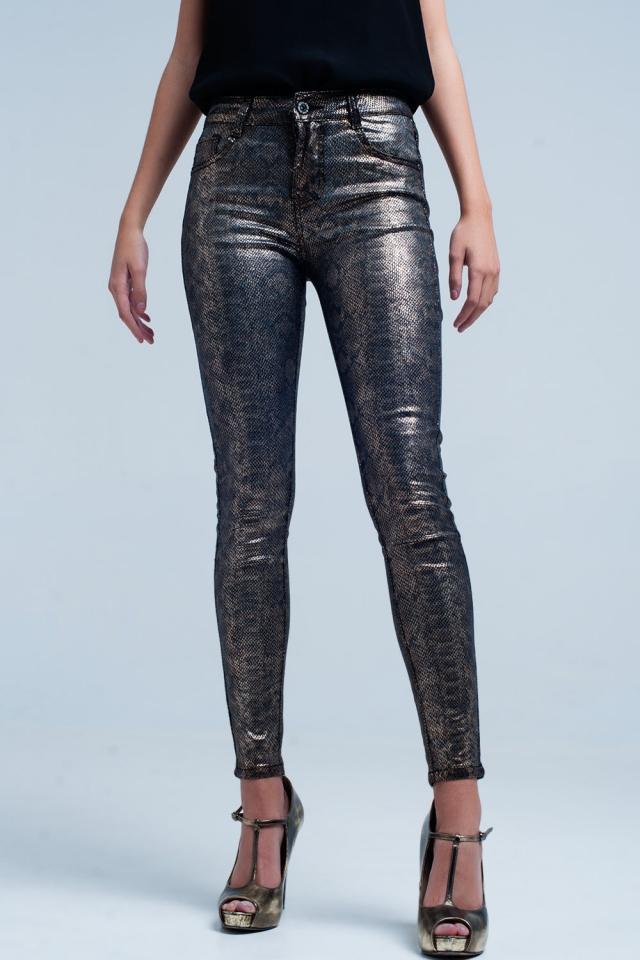 Pantalone skinny con stampa serpente dorato