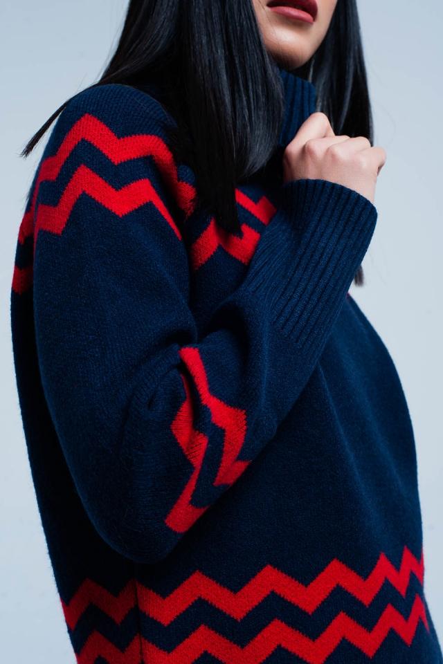 Maglione a collo alto blu scuro a stampa a zigzag