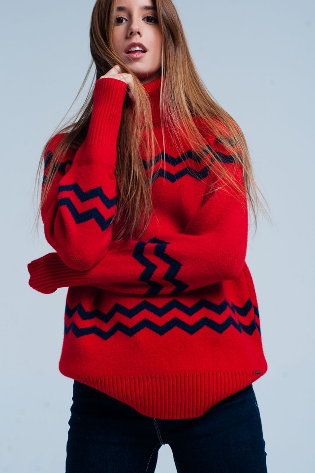Maglione dolcevita rosso a stampa a zigzag