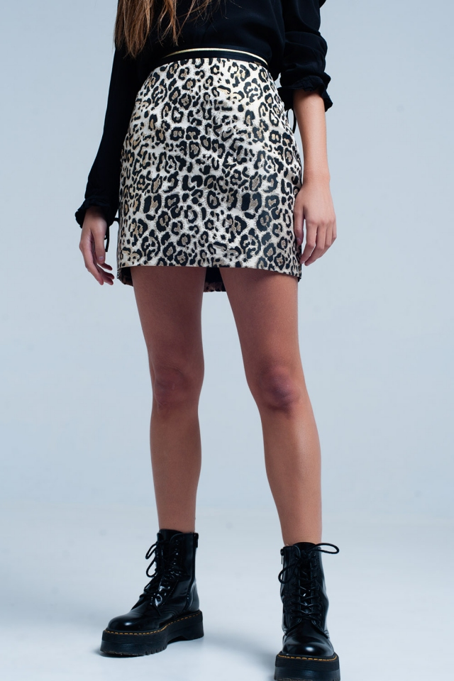 Mini gonna marrone in stampa leopardata
