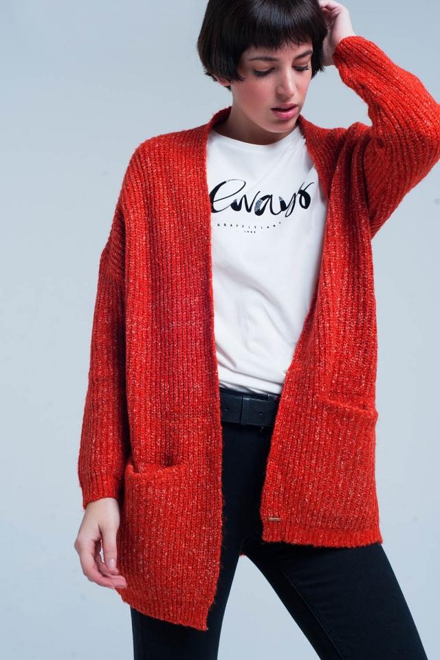 Cardigan lavorato a maglia pesante arancione