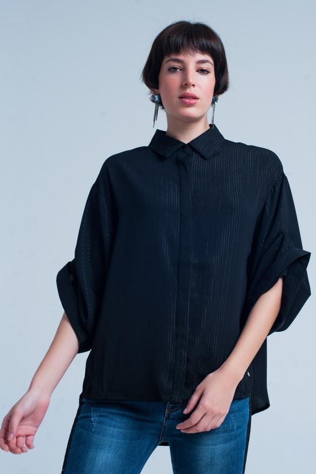 Camicia oversize nera con dettagli in lurex