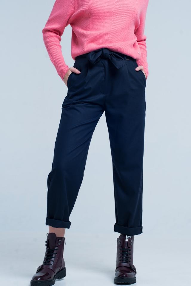 Pantalon dritto e largo blu scuro con farfallino