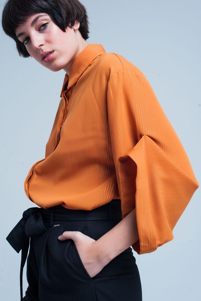 Camicia senape oversize con dettagli in lurex